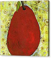 Red Pear Circle Pattern Art Acrylic Print by Blenda Studio