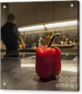 Red Pepper Awaits The Chop Acrylic Print