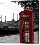Battersea Power Station And The Red Phone Box Acrylic Print