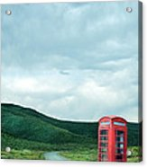 Red Phone Box On Rural Road Acrylic Print