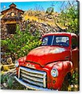 Red Pickup Truck At Santa Fe Acrylic Print