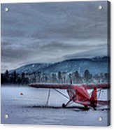 Red Plane In A Gathering Storm Acrylic Print