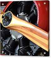 Red Plane With Wood Propeller Acrylic Print