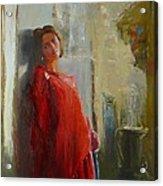 Red Poncho Acrylic Print