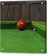 Red Pool Ball On A Pool Table Acrylic Print
