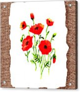 Red Poppies Decorative Collage Acrylic Print by Irina Sztukowski