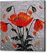 Red Poppies Original Palette Knife Acrylic Print