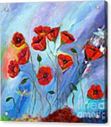 Red Poppy With Dragonfly Acrylic Print
