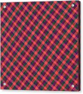 Red Purple And Green Diagonal Plaid Textile Background Acrylic Print
