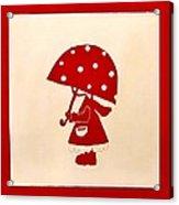 Red Rain Girl Acrylic Print