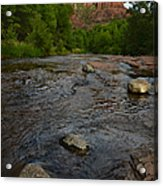 Red River Crossing Under Cathedral Rock Acrylic Print