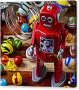 Red Robot And Marbles Acrylic Print