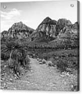 Red Rock Canyon Trailhead Black And White Acrylic Print
