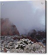 Red Rock Fog Snow Sedona Arizona Acrylic Print