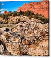 Red Rocks Over White Acrylic Print