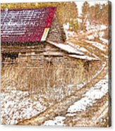 Red Roof In The Snow  Acrylic Print