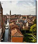 Red Roofs Of Europe - Venetian Canal Palaces Gardens And Courtyards Acrylic Print