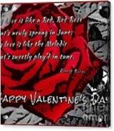 Red Rose Valentine Acrylic Print
