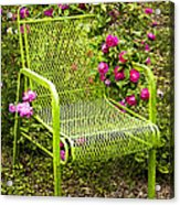 Red Roses Green Chair Acrylic Print by Lena Auxier