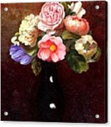 Red Roses In A Black Vase Acrylic Print