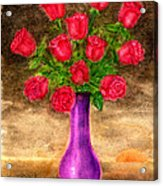 Red Roses In A Purple Vase Acrylic Print