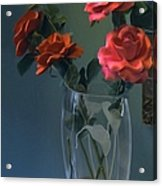 Red Roses In A Vase Acrylic Print