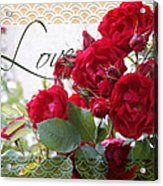 Red Roses Love And Lace Acrylic Print