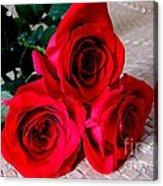 Red Roses On Lauhala Acrylic Print