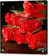 Red Roses On Wood Floor Acrylic Print