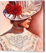 Red Roses Satin Hat Acrylic Print