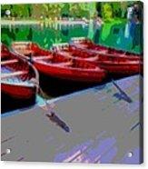 Red Rowboats Dock Lake Enhanced Iv Acrylic Print
