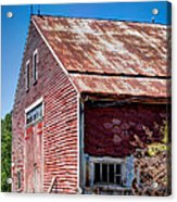 Red Rustic Weathered Barn Acrylic Print