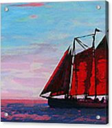 Red Sails On The Chesapeake - New Multimedia Acrylic/oil Painting Acrylic Print