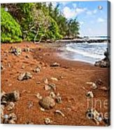 Red Sand Seclusion - The Exotic And Stunning Red Sand Beach On Maui Acrylic Print