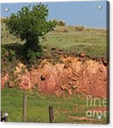 Red Sandstone Hillside With Grass Acrylic Print