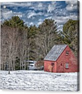 Red Shed In Maine Acrylic Print by Guy Whiteley