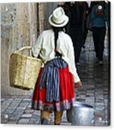 Red Skirted Woman Of Cuenca Acrylic Print
