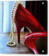 Red Shoes And Pearls Acrylic Print