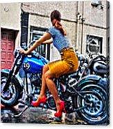 Red Shoes On A Harley Acrylic Print by Tony Reddington