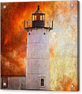 Red Sky At Morning - Nubble Lighthouse Acrylic Print by Lois Bryan