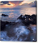 Red Sky Over Lanai Acrylic Print by Mike  Dawson