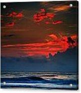 Red Sky Over Ocean Acrylic Print