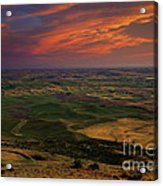 Red Sky Over The Palouse Acrylic Print