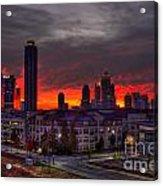 Red Sky Sunrise Midtown Atlanta Acrylic Print