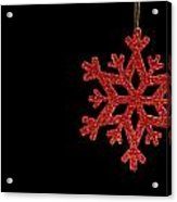 Red Snow Flake On A Black Background Acrylic Print