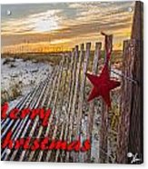 Red Star On Fence Acrylic Print