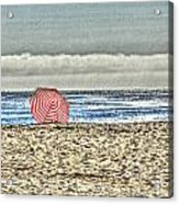 Red Striped Umbrella At The Beach Acrylic Print