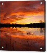 Red Sunset Over Massabesic Lake Acrylic Print