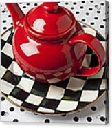 Red Teapot On Checkerboard Plate Acrylic Print