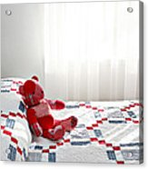 Red Teddy Bear Acrylic Print